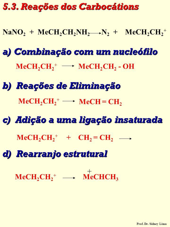 5.3. Reações dos Carbocátions a)Combinação com um nucleófilo b) Reações de Eliminação c) Adição a uma ligação insaturada d) Rearranjo estrutural MeCH