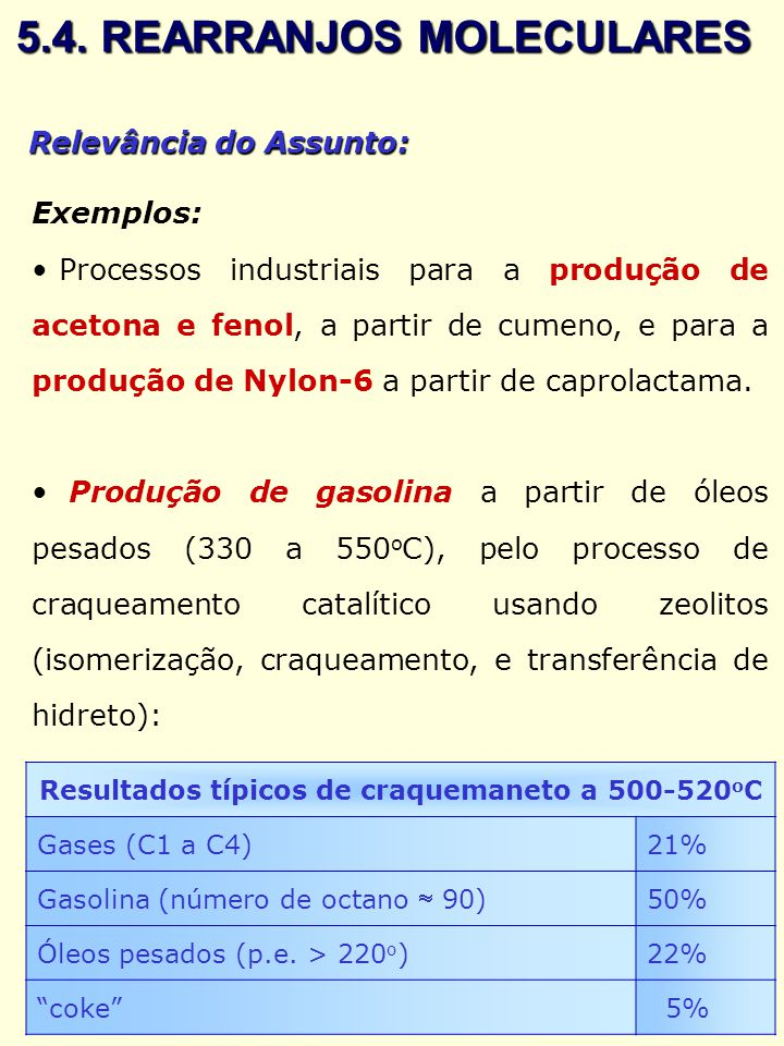 Relevância do Assunto: Exemplos: Processos industriais para a produção de acetona e fenol, a partir de cumeno, e para a produção de Nylon-6 a partir d