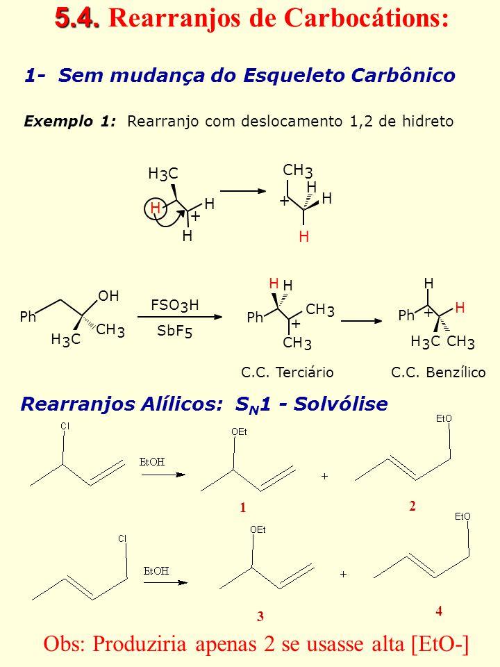 5.4. 5.4. Rearranjos de Carbocátions: 1- Sem mudança do Esqueleto Carbônico Exemplo 1: Rearranjo com deslocamento 1,2 de hidreto H 3 C H H + H CH 3 H