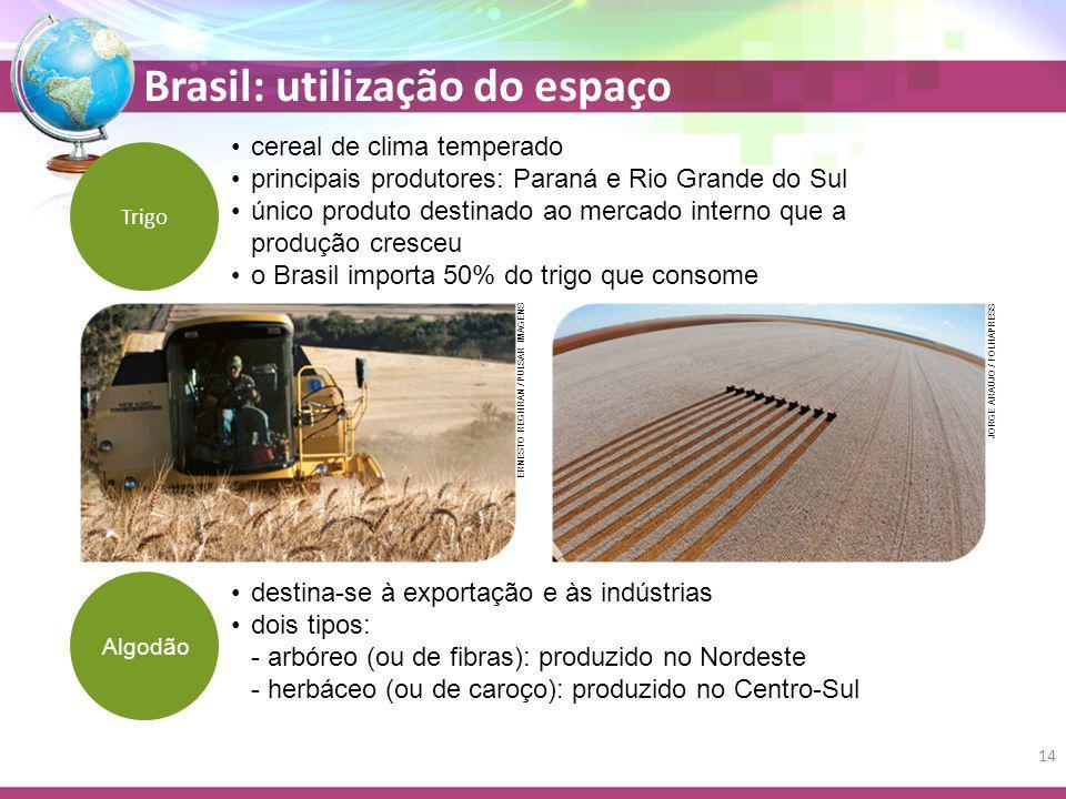 Brasil: utilização do espaço Trigo destina-se à exportação e às indústrias dois tipos: - arbóreo (ou de fibras): produzido no Nordeste - herbáceo (ou de caroço): produzido no Centro-Sul Algodão cereal de clima temperado principais produtores: Paraná e Rio Grande do Sul único produto destinado ao mercado interno que a produção cresceu o Brasil importa 50% do trigo que consome JORGE ARAÚJO / FOLHAPRESS ERNESTO REGHRAN / PULSAR IMAGENS 14