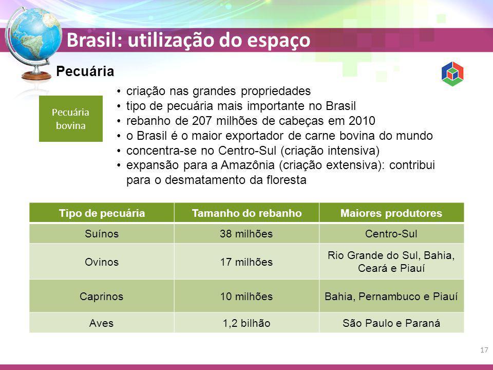 Brasil: utilização do espaço Pecuária Pecuária bovina criação nas grandes propriedades tipo de pecuária mais importante no Brasil rebanho de 207 milhões de cabeças em 2010 o Brasil é o maior exportador de carne bovina do mundo concentra-se no Centro-Sul (criação intensiva) expansão para a Amazônia (criação extensiva): contribui para o desmatamento da floresta Tipo de pecuáriaTamanho do rebanhoMaiores produtores Suínos38 milhõesCentro-Sul Ovinos17 milhões Rio Grande do Sul, Bahia, Ceará e Piauí Caprinos10 milhõesBahia, Pernambuco e Piauí Aves1,2 bilhãoSão Paulo e Paraná 17