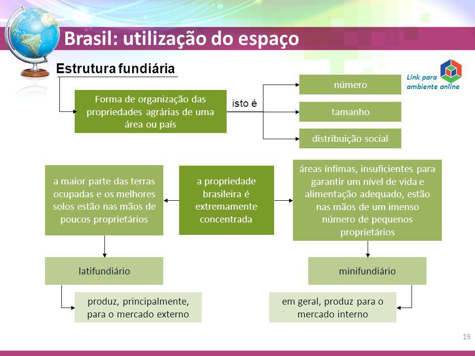Brasil: utilização do espaço Estrutura fundiária Forma de organização das propriedades agrárias de uma área ou país isto é número tamanho distribuição