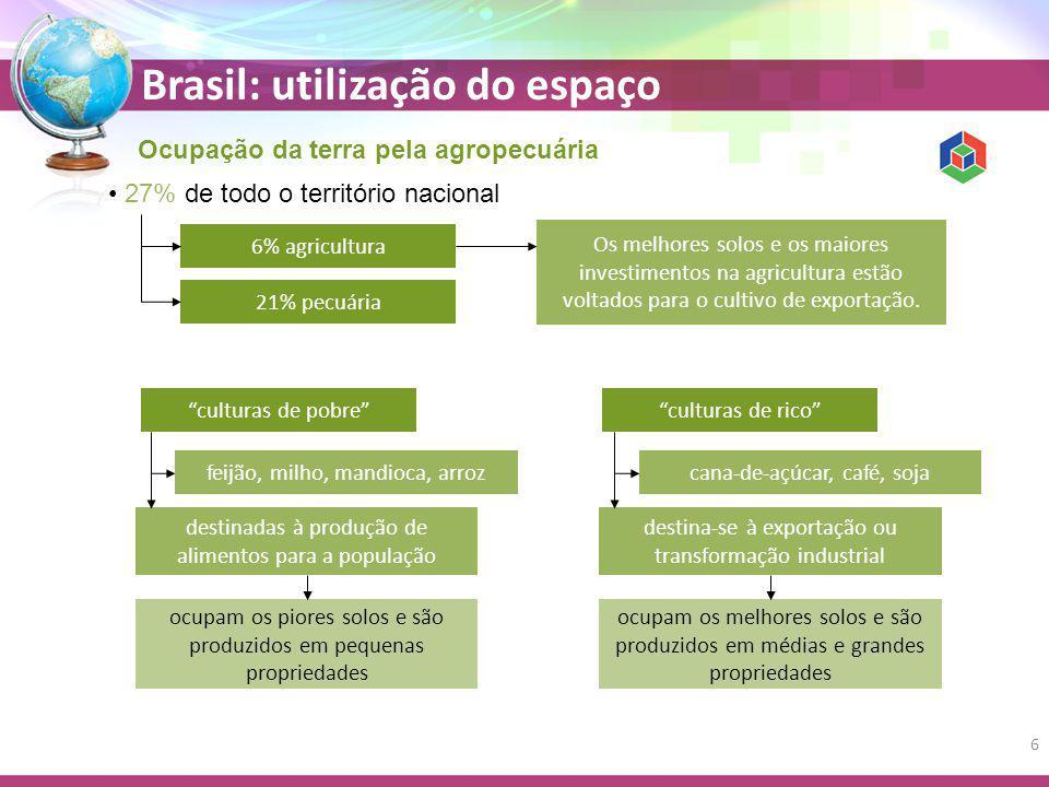 Ocupação da terra pela agropecuária 27% de todo o território nacional 6% agricultura 21% pecuária Os melhores solos e os maiores investimentos na agricultura estão voltados para o cultivo de exportação.