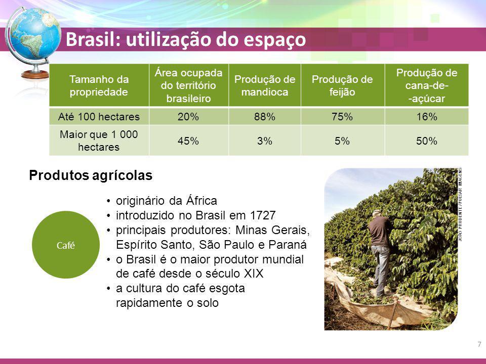 Brasil: utilização do espaço Tamanho da propriedade Área ocupada do território brasileiro Produção de mandioca Produção de feijão Produção de cana-de- -açúcar Até 100 hectares20%88%75%16% Maior que 1 000 hectares 45%3%5%50% Café originário da África introduzido no Brasil em 1727 principais produtores: Minas Gerais, Espírito Santo, São Paulo e Paraná o Brasil é o maior produtor mundial de café desde o século XIX a cultura do café esgota rapidamente o solo Produtos agrícolas JOÃO PRUDENTE / PULSAR IMAGENS 7