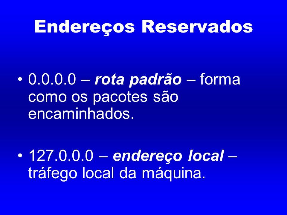 Endereços Reservados 0.0.0.0 – rota padrão – forma como os pacotes são encaminhados.