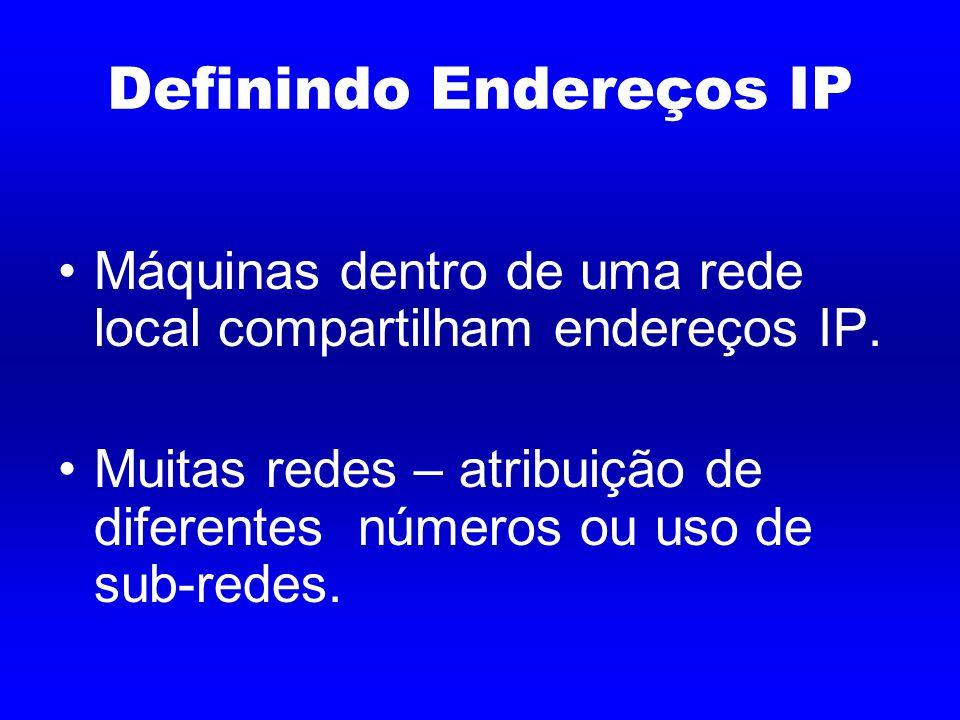 Definindo Endereços IP Máquinas dentro de uma rede local compartilham endereços IP.