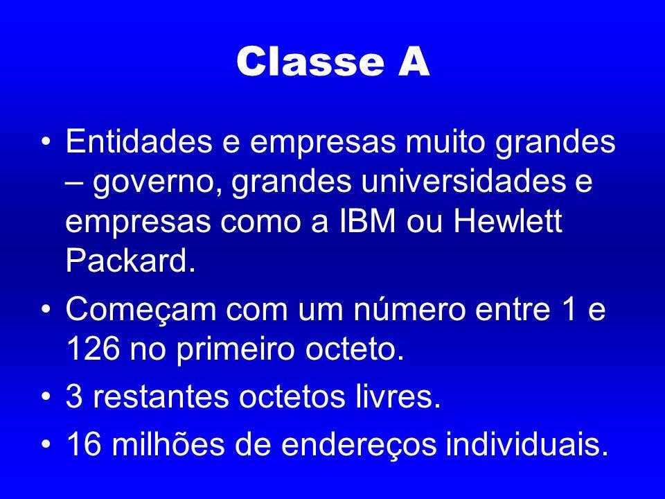 Classe A Entidades e empresas muito grandes – governo, grandes universidades e empresas como a IBM ou Hewlett Packard.