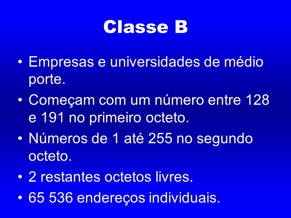 Classe B Empresas e universidades de médio porte.