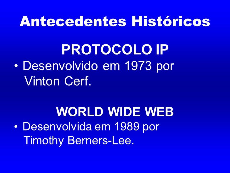 Antecedentes Históricos PROTOCOLO IP Desenvolvido em 1973 por Vinton Cerf.
