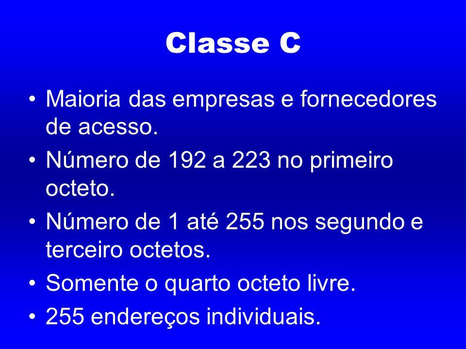 Classe C Maioria das empresas e fornecedores de acesso.