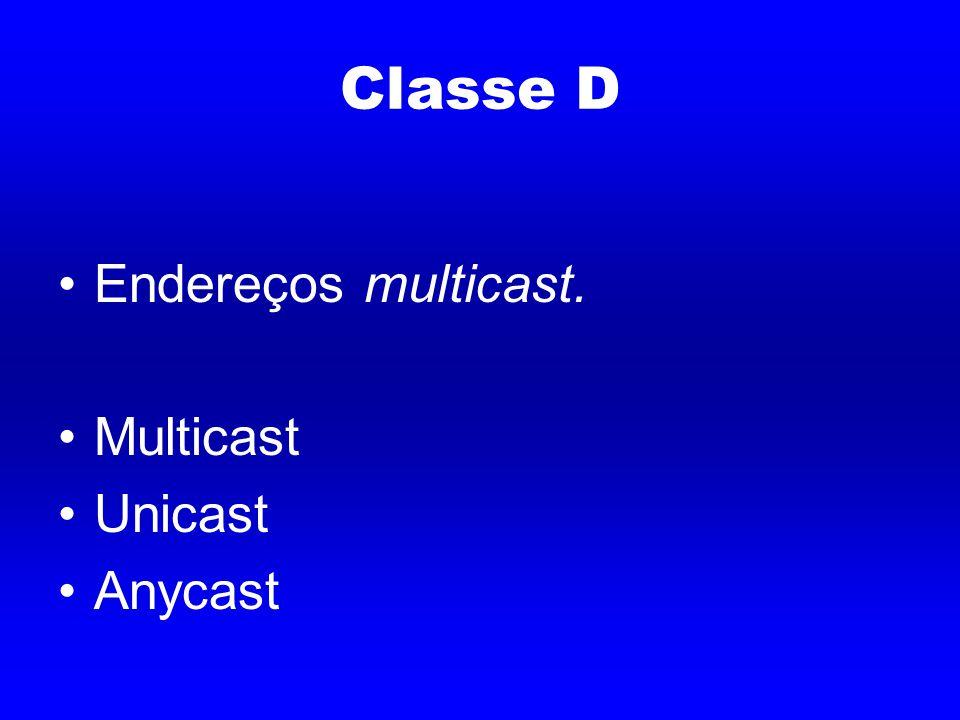 Classe D Endereços multicast. Multicast Unicast Anycast