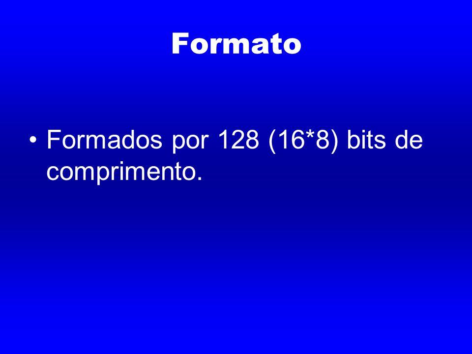 Formato Formados por 128 (16*8) bits de comprimento.