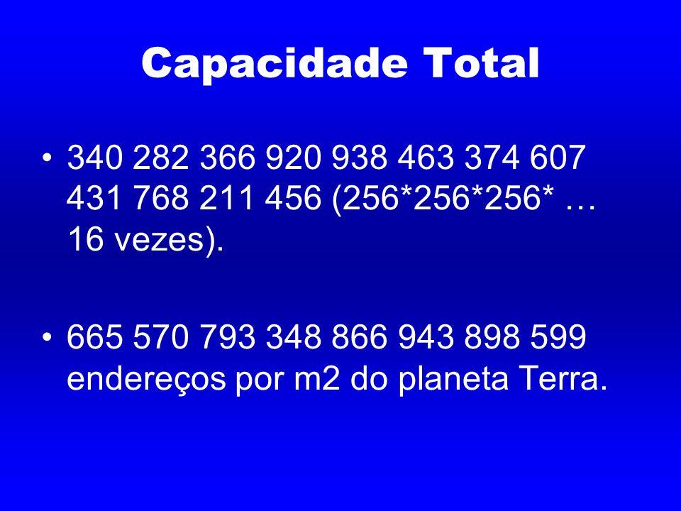 Capacidade Total 340 282 366 920 938 463 374 607 431 768 211 456 (256*256*256* … 16 vezes).
