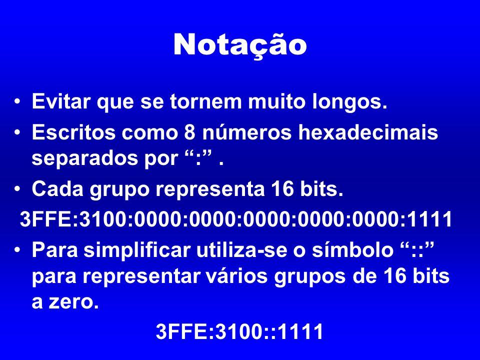 Notação Evitar que se tornem muito longos. Escritos como 8 números hexadecimais separados por : .