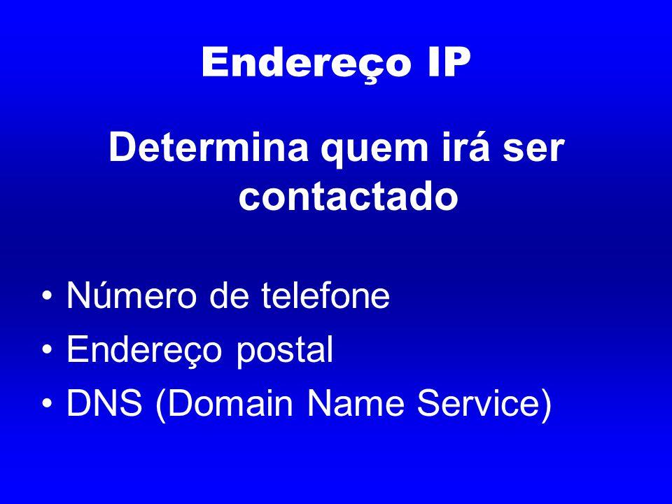 Endereço IP Determina quem irá ser contactado Número de telefone Endereço postal DNS (Domain Name Service)