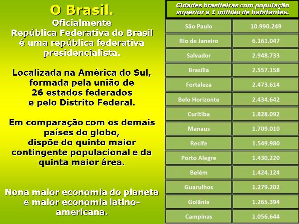 O Brasil.Oficialmente República Federativa do Brasil é uma república federativa presidencialista.