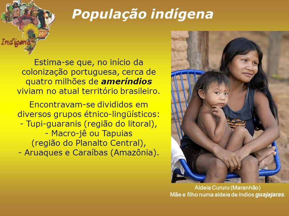 População indígena Aldeia Cururu (Maranhão) Mãe e filho numa aldeia de índios guajajaras.