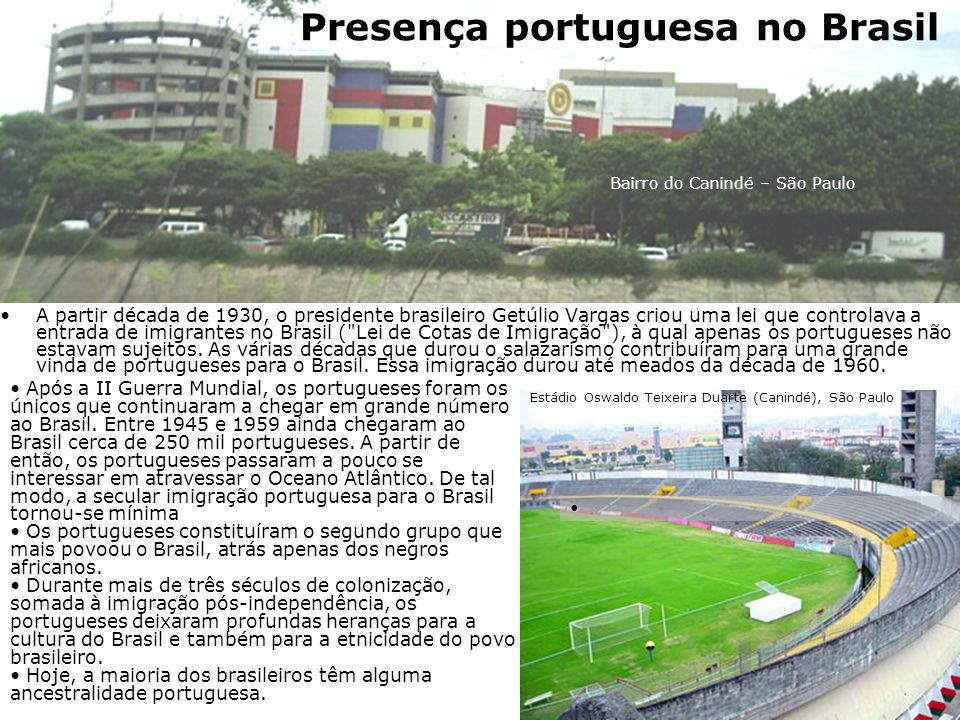 A partir década de 1930, o presidente brasileiro Getúlio Vargas criou uma lei que controlava a entrada de imigrantes no Brasil ( Lei de Cotas de Imigração ), à qual apenas os portugueses não estavam sujeitos.
