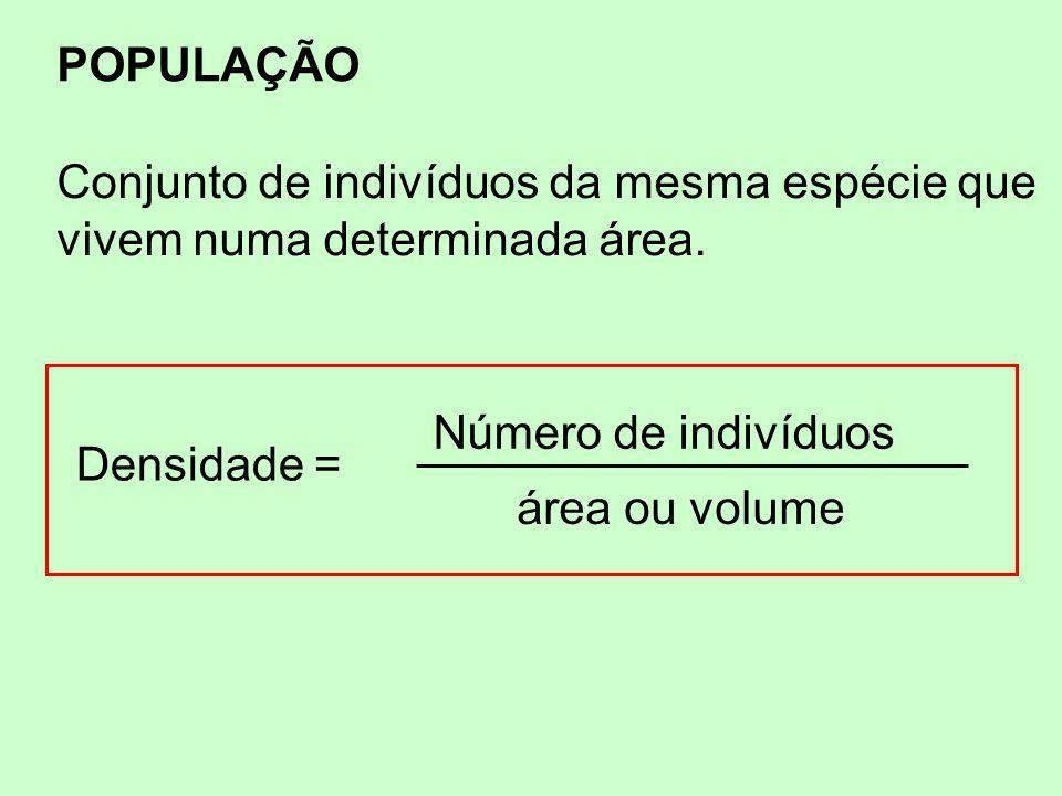 POPULAÇÃO Conjunto de indivíduos da mesma espécie que vivem numa determinada área. Densidade = Número de indivíduos área ou volume
