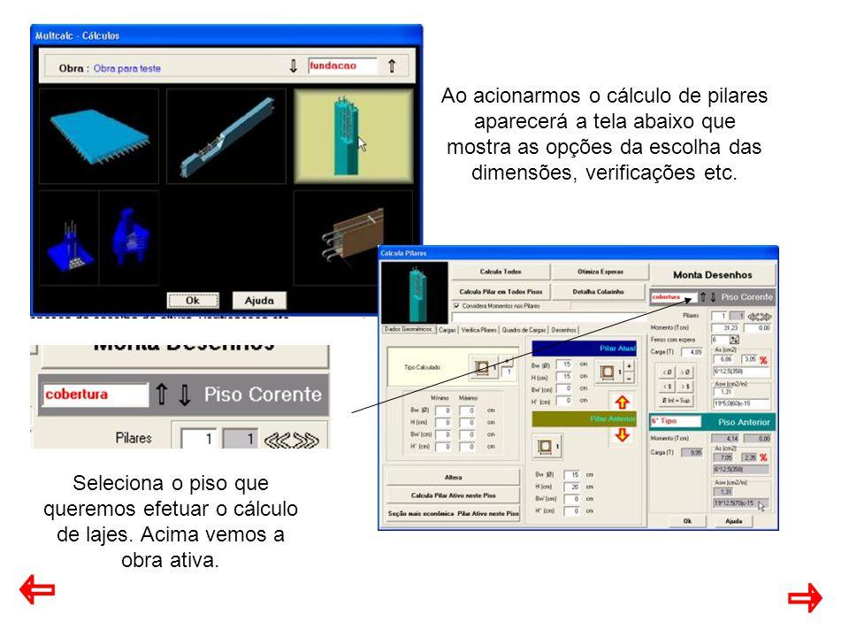 Ao acionarmos o cálculo de pilares aparecerá a tela abaixo que mostra as opções da escolha das dimensões, verificações etc.