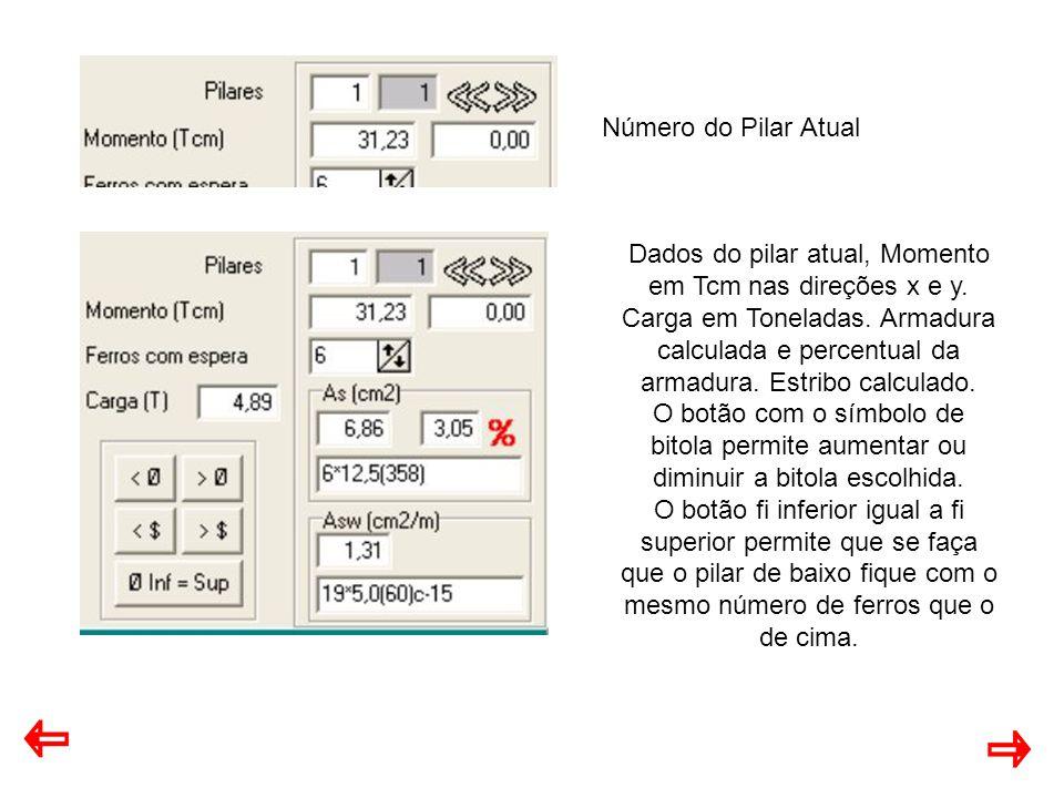 Número do Pilar Atual Dados do pilar atual, Momento em Tcm nas direções x e y.