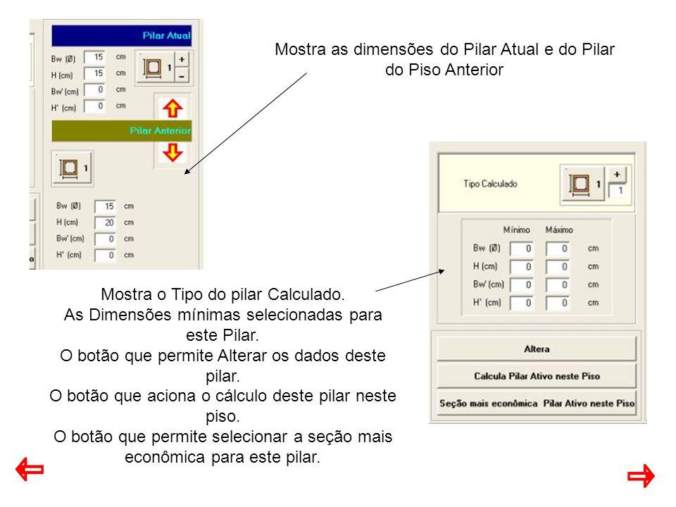 Mostra as dimensões do Pilar Atual e do Pilar do Piso Anterior Mostra o Tipo do pilar Calculado.