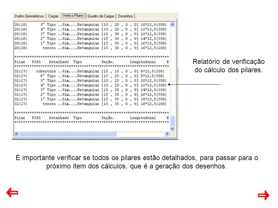 Relatório de verificação do cálculo dos pilares.