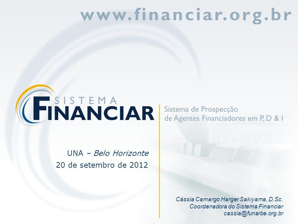Cássia Camargo Harger Sakiyama, D.Sc. Coordenadora do Sistema Financiar cassia@funarbe.org.br UNA – Belo Horizonte 20 de setembro de 2012