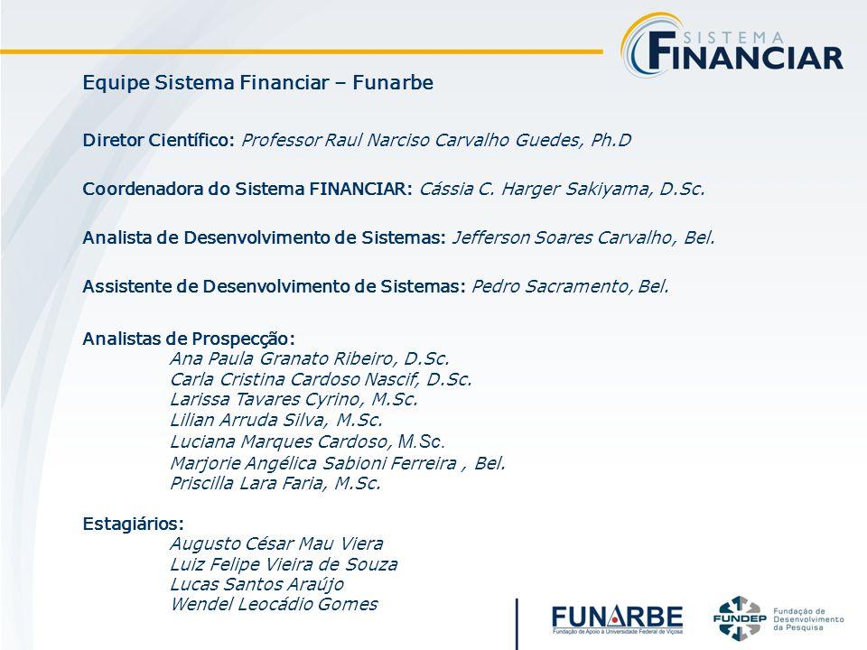 Equipe Sistema Financiar – Funarbe Diretor Científico: Professor Raul Narciso Carvalho Guedes, Ph.D Coordenadora do Sistema FINANCIAR: Cássia C. Harge