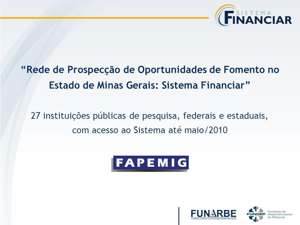 Rede de Prospecção de Oportunidades de Fomento no Estado de Minas Gerais: Sistema Financiar 27 instituições públicas de pesquisa, federais e estaduais, com acesso ao Sistema até maio/2010
