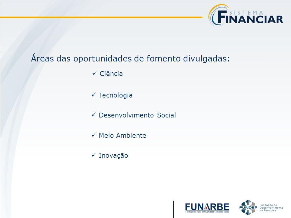Áreas das oportunidades de fomento divulgadas: Ciência Tecnologia Desenvolvimento Social Meio Ambiente Inovação