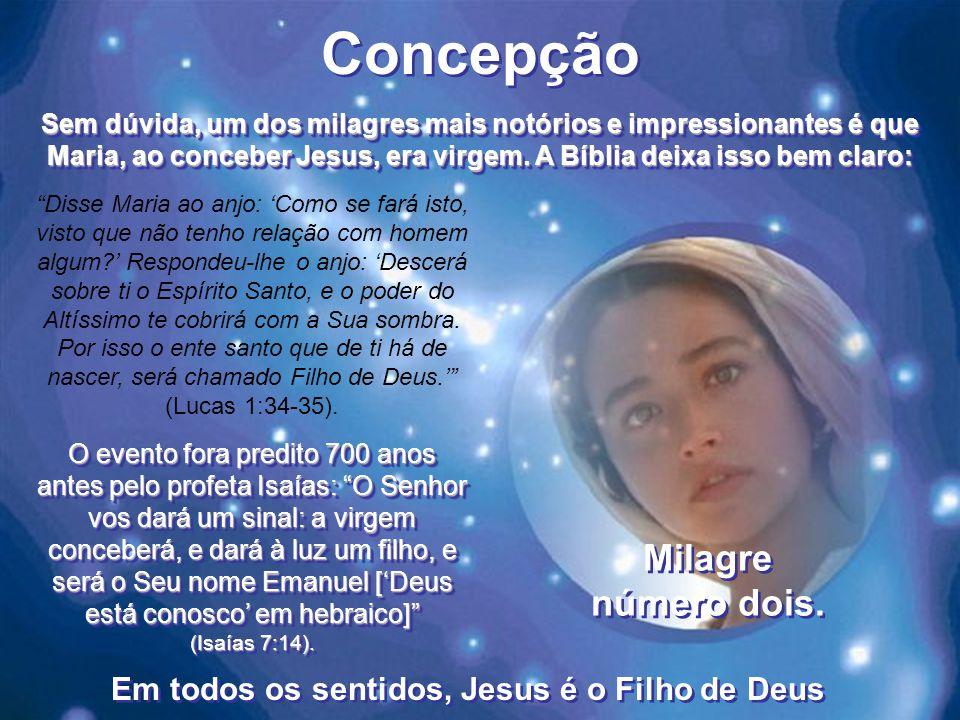 Concepção Disse Maria ao anjo: 'Como se fará isto, visto que não tenho relação com homem algum?' Respondeu-lhe o anjo: 'Descerá sobre ti o Espírito Santo, e o poder do Altíssimo te cobrirá com a Sua sombra.