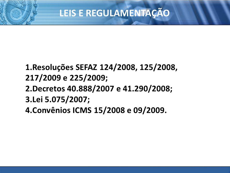 PLONE - 2007 LEIS E REGULAMENTAÇÃO 1.Resoluções SEFAZ 124/2008, 125/2008, 217/2009 e 225/2009; 2.Decretos 40.888/2007 e 41.290/2008; 3.Lei 5.075/2007;