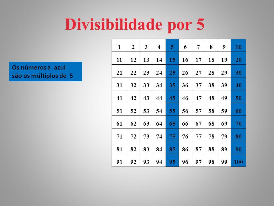 Divisibilidade por 5 12345678910 11121314151617181920 21222324252627282930 31323334353637383940 41424344454647484950 51525354555657585960 616263646566