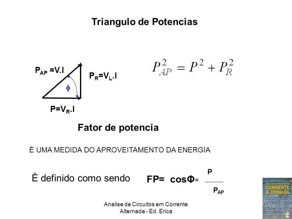 Analise de Circuitos em Corrente Alternada - Ed. Erica Triangulo de Potencias P=V R.I P R =V L.I  P AP =V.I Fator de potencia É UMA MEDIDA DO APROVEI