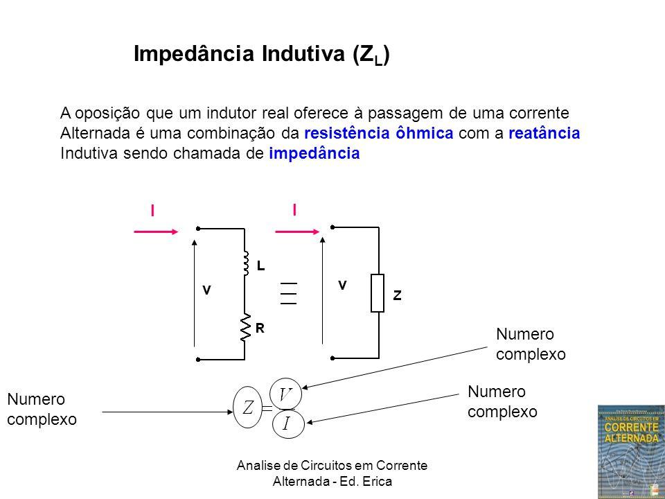 Analise de Circuitos em Corrente Alternada - Ed. Erica Impedância Indutiva (Z L ) A oposição que um indutor real oferece à passagem de uma corrente Al