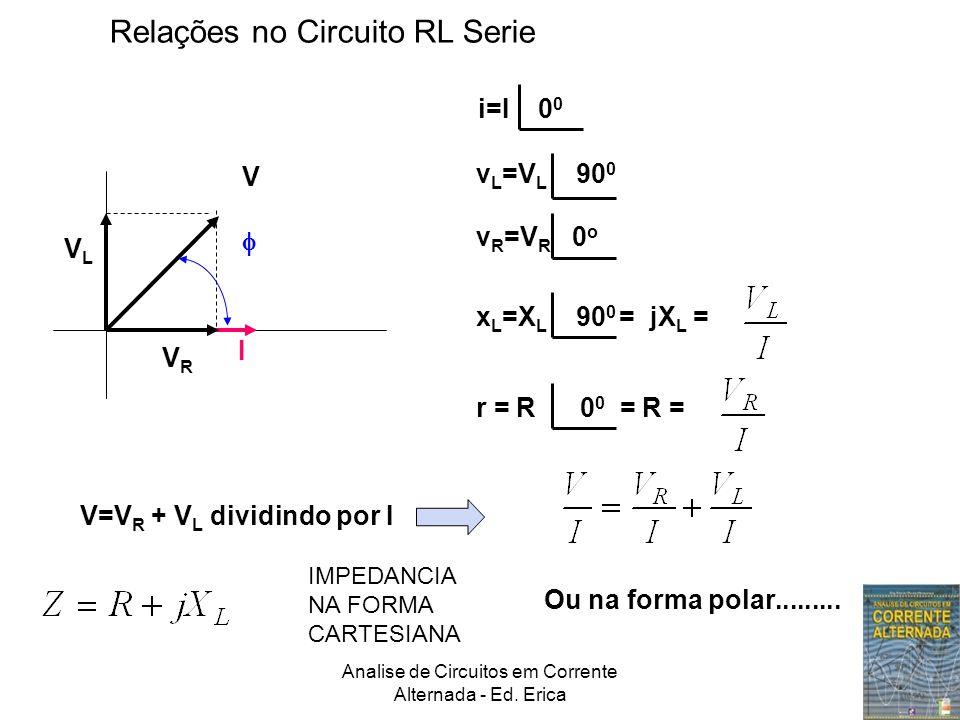 Analise de Circuitos em Corrente Alternada - Ed. Erica I VRVR VLVL V  i=I 0 0 v L =V L 90 0 v R =V R 0 o Relações no Circuito RL Serie x L =X L 90 0