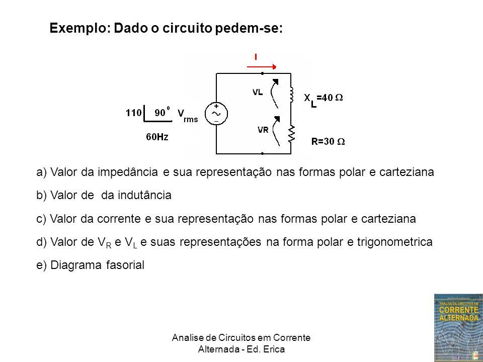 Analise de Circuitos em Corrente Alternada - Ed. Erica Exemplo: Dado o circuito pedem-se: a) Valor da impedância e sua representação nas formas polar