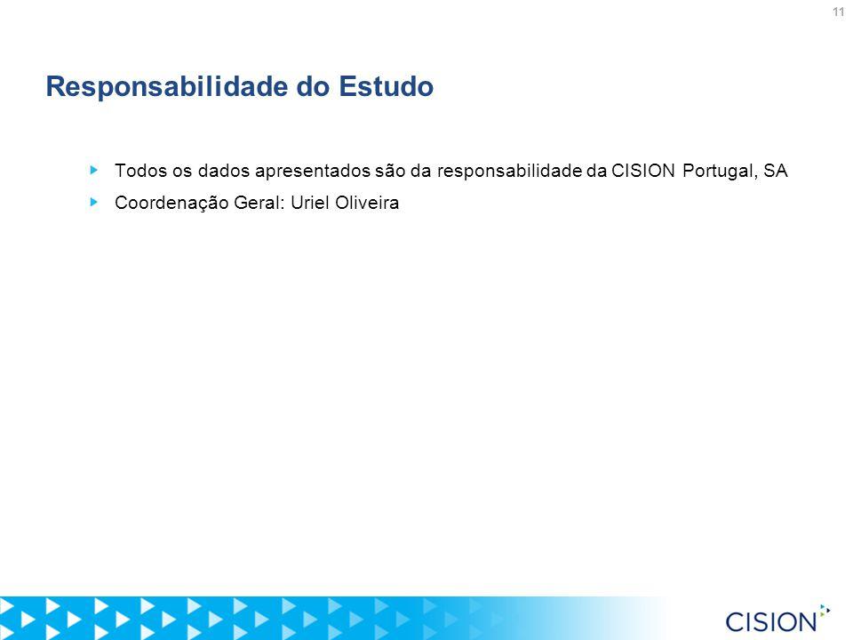 11 Responsabilidade do Estudo Todos os dados apresentados são da responsabilidade da CISION Portugal, SA Coordenação Geral: Uriel Oliveira