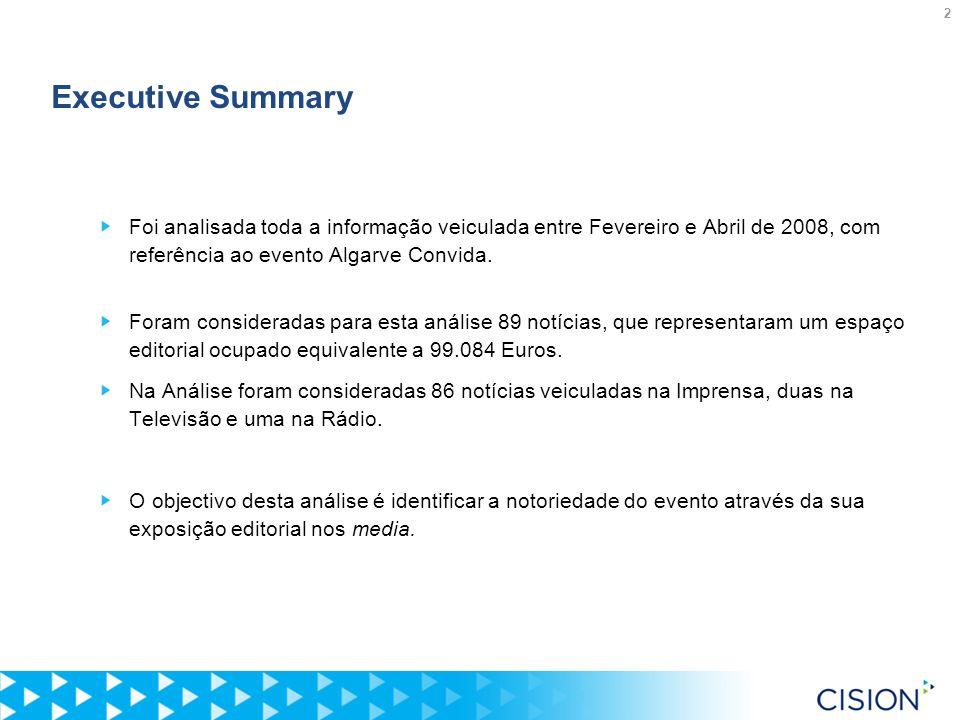 2 Executive Summary Foi analisada toda a informação veiculada entre Fevereiro e Abril de 2008, com referência ao evento Algarve Convida.