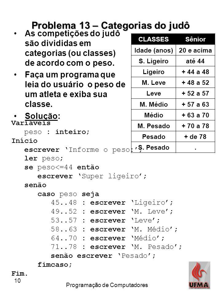 10 Programação de Computadores Problema 13 – Categorias do judô CLASSESSênior Idade (anos)20 e acima S. Ligeiroaté 44 Ligeiro+ 44 a 48 M. Leve+ 48 a 5