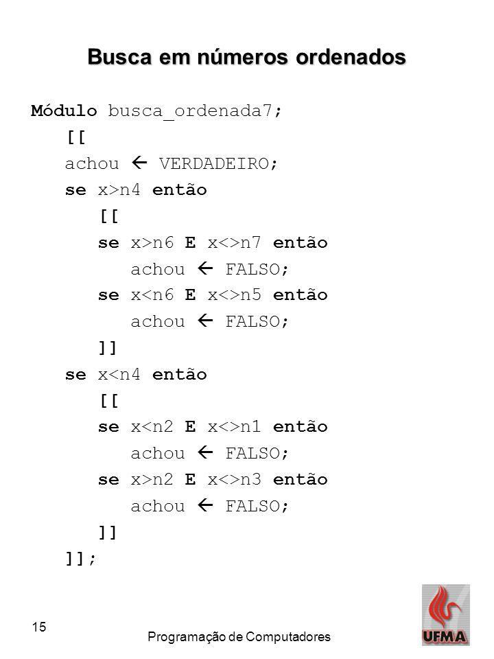 15 Programação de Computadores Busca em números ordenados Módulo busca_ordenada7; [[ achou  VERDADEIRO; se x>n4 então [[ se x>n6 E x<>n7 então achou