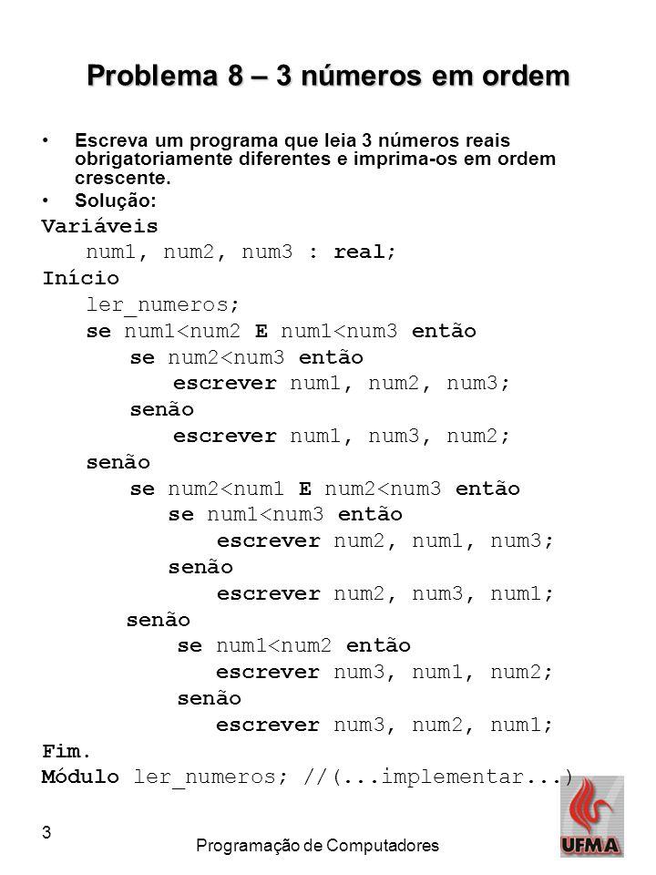3 Programação de Computadores Problema 8 – 3 números em ordem Escreva um programa que leia 3 números reais obrigatoriamente diferentes e imprima-os em