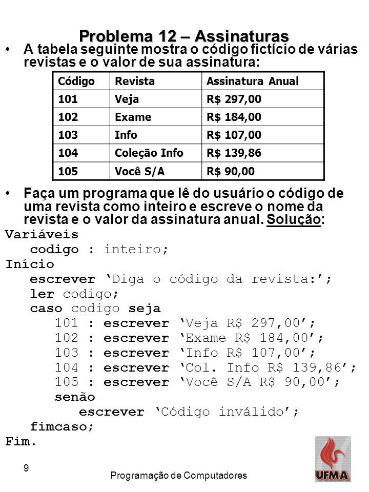 9 Programação de Computadores Problema 12 – Assinaturas A tabela seguinte mostra o código fictício de várias revistas e o valor de sua assinatura: Faç