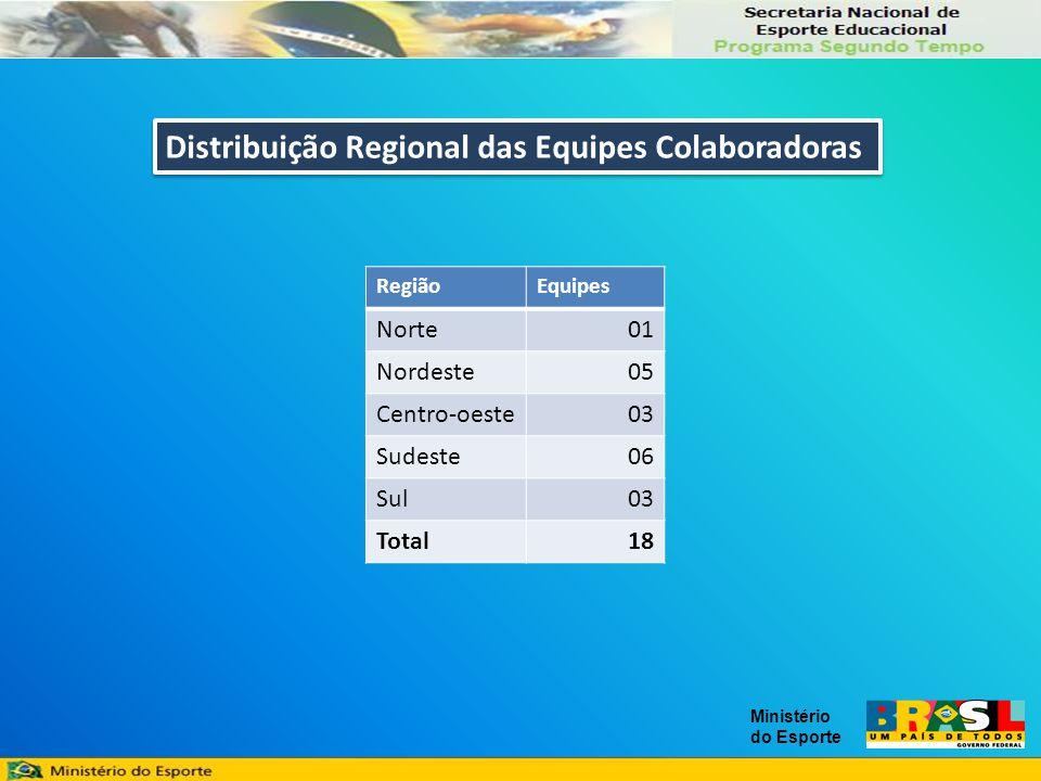 RegiãoEquipes Norte01 Nordeste05 Centro-oeste03 Sudeste06 Sul03 Total18 Distribuição Regional das Equipes Colaboradoras