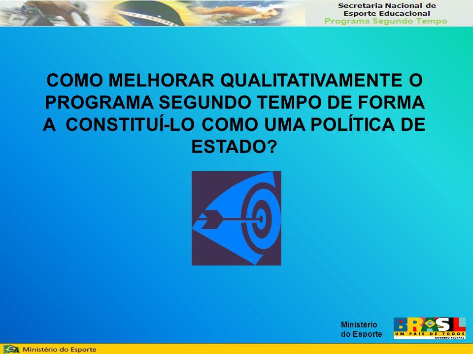 Ministério do Esporte COMO MELHORAR QUALITATIVAMENTE O PROGRAMA SEGUNDO TEMPO DE FORMA A CONSTITUÍ-LO COMO UMA POLÍTICA DE ESTADO