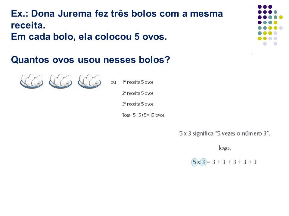 Ex.: Dona Jurema fez três bolos com a mesma receita. Em cada bolo, ela colocou 5 ovos. Quantos ovos usou nesses bolos?