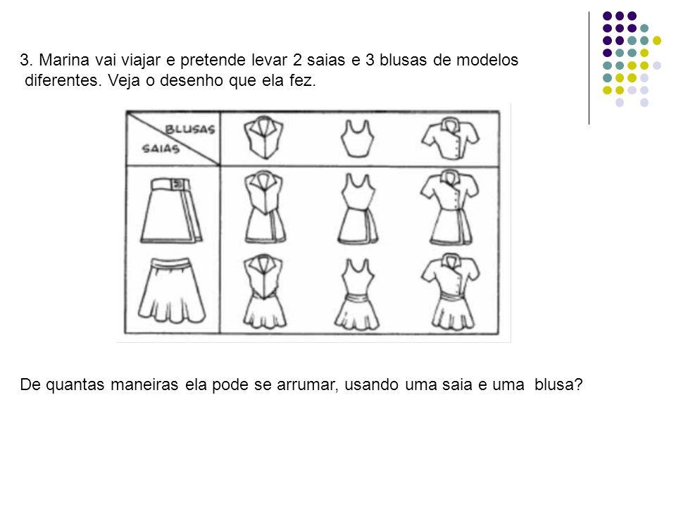 3. Marina vai viajar e pretende levar 2 saias e 3 blusas de modelos diferentes. Veja o desenho que ela fez. De quantas maneiras ela pode se arrumar, u