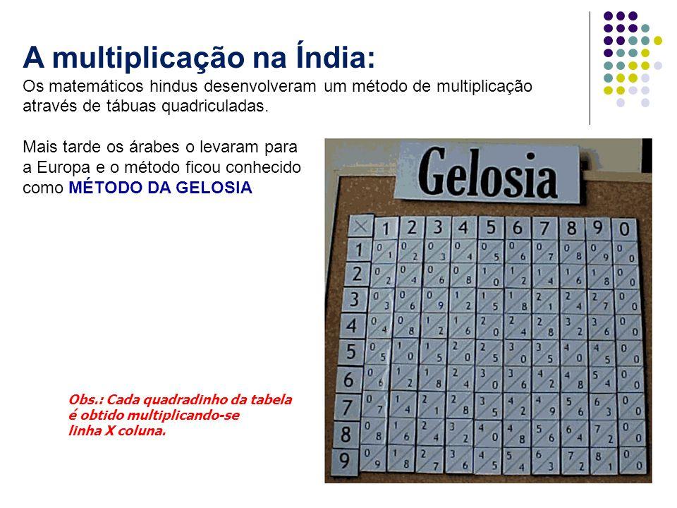 A multiplicação na Índia: Os matemáticos hindus desenvolveram um método de multiplicação através de tábuas quadriculadas. Mais tarde os árabes o levar
