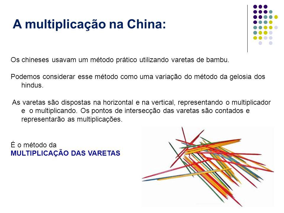 A multiplicação na China: Os chineses usavam um método prático utilizando varetas de bambu. Podemos considerar esse método como uma variação do método